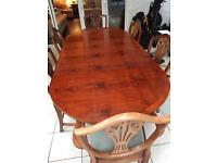 Yew dining table and 6 chairs