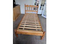 Single pine bed. No matress.