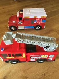 Fire engine and ambulance