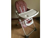 CHICCO RED AND WHITE HIGHCHAIR BRAND NEW CONDITION USED AT IN LAWS