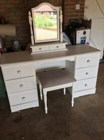Kingstown Nicole White Bedroom Dressing Table, Mirror & Stool