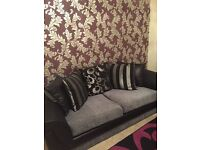 Two and three seater Black, silver n grey sofas excellent condition