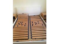 Ikea double bed without mattresses incl bedside tables