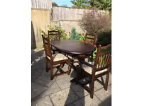 dark oak solid wood extented table and chairs