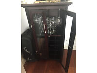 French style doors wine storage cabinet for bottles + glasses