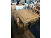 Mexian pine table and 4 chairs - perfect for rented housing