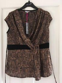 Ladies Per Una Size 14 top - bronze and black smart top with tie around waist