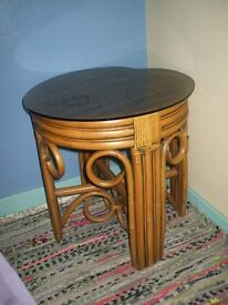 CANE table with glass top