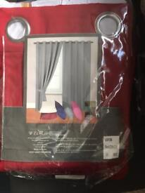 """Red 90"""" x 90"""" curtains new in ripped packaging"""