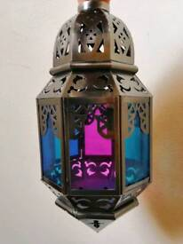 Coloured glass + gunmetal light shade / lantern - indoor or outdoor