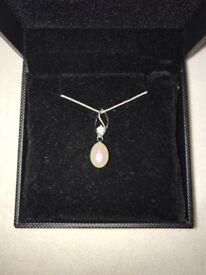 H.Samuel pearl and diamanté necklace