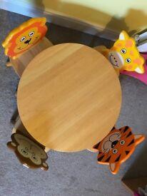 Pintoy Round Wooden Table & 4 Wooden Safari Animals (Lion, Tiger, Giraffe, Monkey) Chairs Set - VGUC