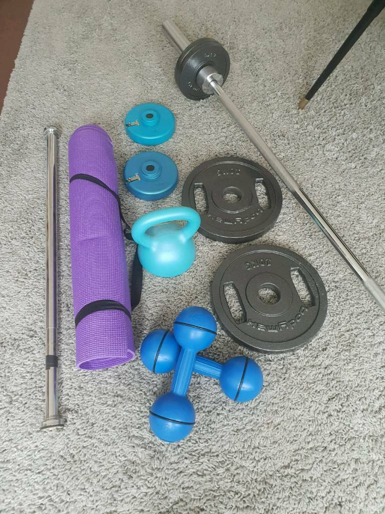 Home gym kit small dumbells kettlebell and mat and bar and disc