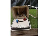 Caravan battery box with special security bar screwed from inside of caravan. NO KEY.