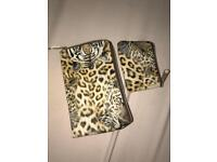 Leopard print card holder and mini coin holder