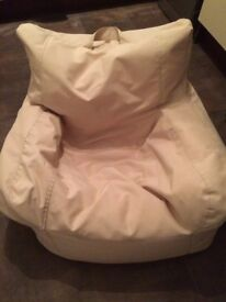Large Cream Beanbag With Side Remote Item Holders- Ideal For Man Cave, Kids Nursery Or Home Office.