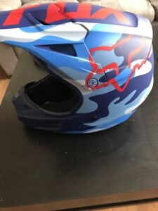 Blue camouflage fox dirt bike helmet and protection bag