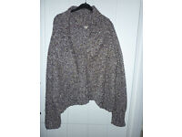 ladies wrap around shrug/ cardigan;medium size heavy knitted pattern from yoors
