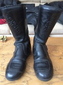 Men's Prexport leather motor cycle boots, size 7, comfortably worn