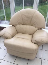 Leather armchair manual recliner