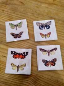 4 butterfly coasters brand new