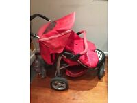 Mothercare Urban Detour Double/Twin Pushchair, Cosytoes + Raincover. Pick up Wandsworth