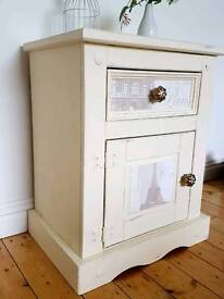 REDUCED Newly Upcycled Mexican Pine Paris Shabby Chic Bedside Table Corner Unit Side Furniture