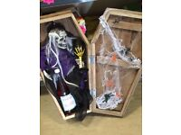 Pair of skeletons in caskets from smoke free home