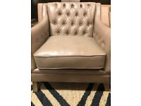 Armchair - Button-Back - Leather - Beige - New - RRP £599