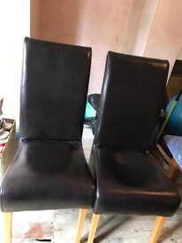 2 real leather dining chairs