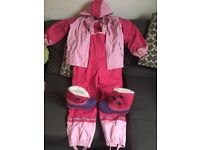 Girls waterproof jacket, trousers and boots.
