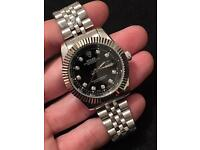 Rolex datejust watch, New, full stainless steel (black face)
