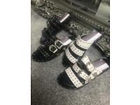 BNIB black studded sandals sizes 3-8