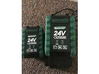 2x24V qualcast batteries and charger like new