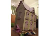 Child's Dolls' House with Furniture, Pets and Figurines