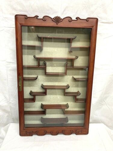 Vintage Asian Chinese Hanging Snuff Bottle Display Cabinet w Glass Door Closure