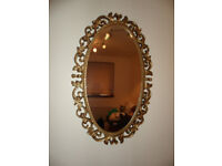 GOLD PAINTED WOODEN FRAMED OVAL MIRROR
