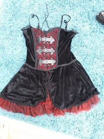 Dark Star red and black velvet short gothic dress size 14-16