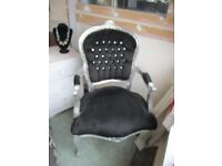 Silver and black bedroom chair