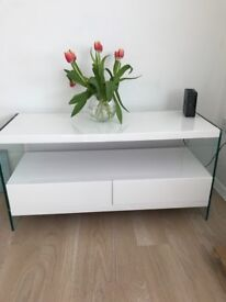 Hygena Kaspa TV Unit - White Gloss & Glass