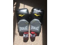 Everlast Evershield 12oz boxing gloves + S2 Fighters hand wrap