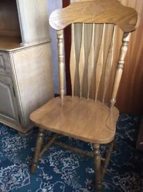 Solid pine dining chairs x6