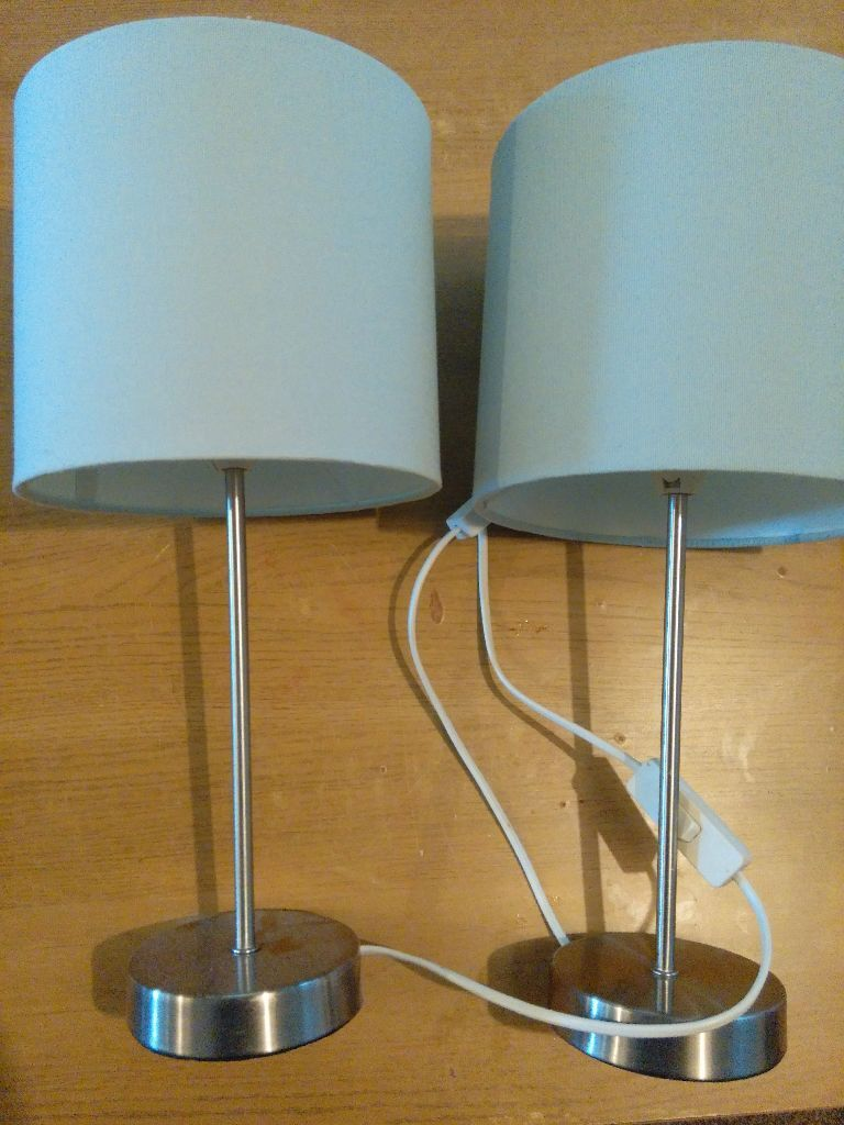 Pair of duck egg blue table bedside lamps in rochford essex pair of duck egg blue table bedside lamps aloadofball Choice Image
