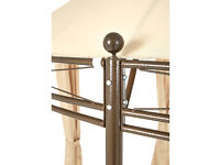 3m round, beige gazebo with detachable side curtains - Never been used