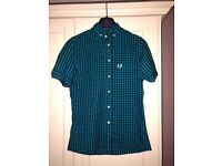 """Fred Perry Mens Small 38"""" blue and black check short sleeve shirt"""