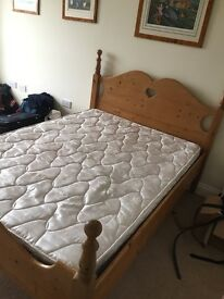 Pine Double Bed With Mattress Lovely Great Quality