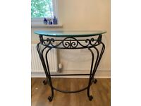 Glass and metal half moon side/ console table