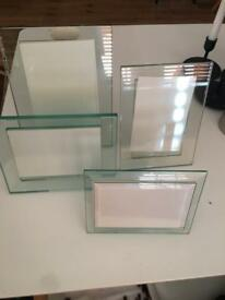 Solid glass picture frame set of 4