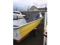 Motor Boat with Cabin and Trailer