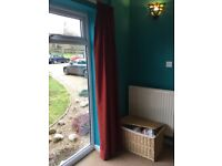 2 pairs of deep red full length / patio door curtains floor to ceiling
